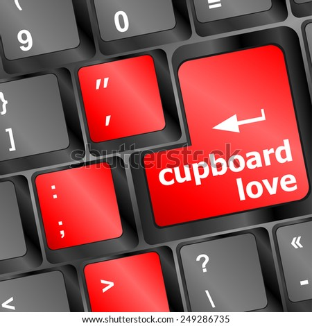 vector cupboard love words showing romance and love on keyboard keys