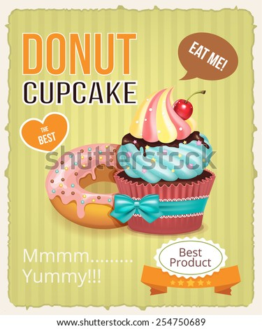 Vector cupcake and donut banner illustration - stock vector