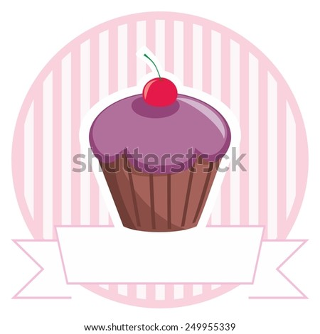 Vector cupcake on stripes background shop icon - stock vector