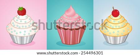 vector cupcakes  - stock vector