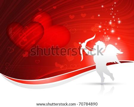 vector cupid heart background design - stock vector