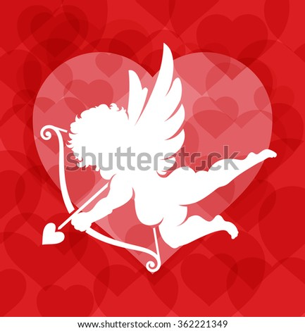 Vector Cupid silhouette on red background filled with hearts. - stock vector