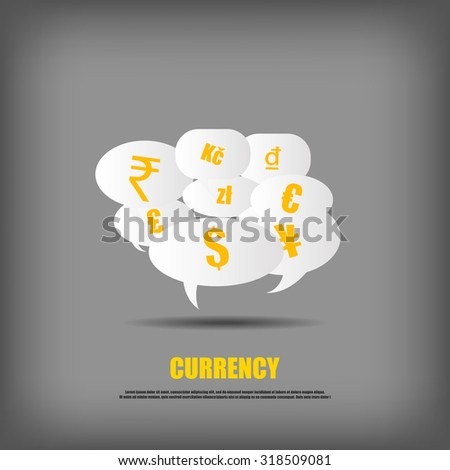 Vector : Currency symbol on bubble quotes - stock vector