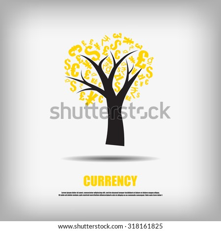 Vector : Currency symbol tree business background - stock vector