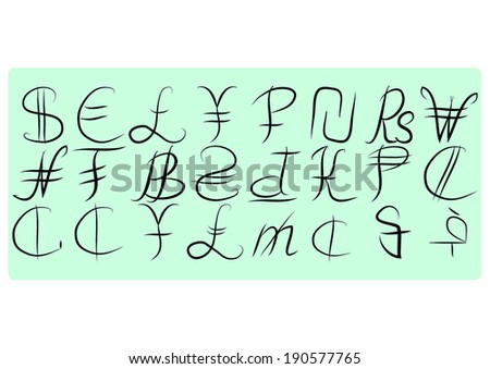 Vector currency symbols. world money. - stock vector