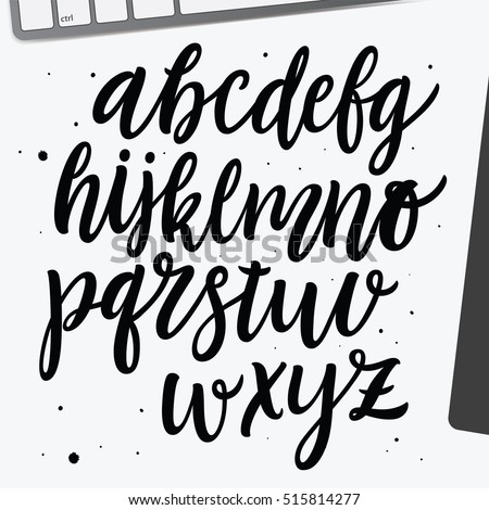 Vector Cursive Alphabet In The Style Of Lettering And Calligraphy