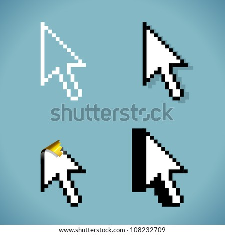 Vector cursor arrow sign in four variations