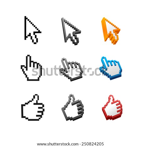 Vector cursors set isolated on white background. Arrow, hand. - stock vector