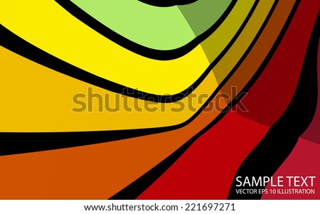 Vector curved abstract colorful background illustration - Vector abstract colorful background abstract template - stock vector