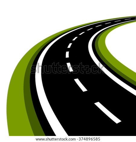 vector curved asphalt road - stock vector