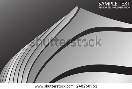 Vector curved metal abstract background illustration - Shiny silver abstract vector design  template - stock vector