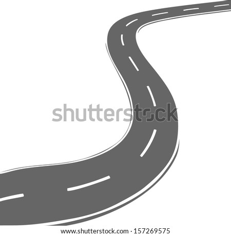 Vector curved road. Simple line style - stock vector