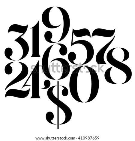 Vector custom design elegant numbers and US dollar symbol - stock vector