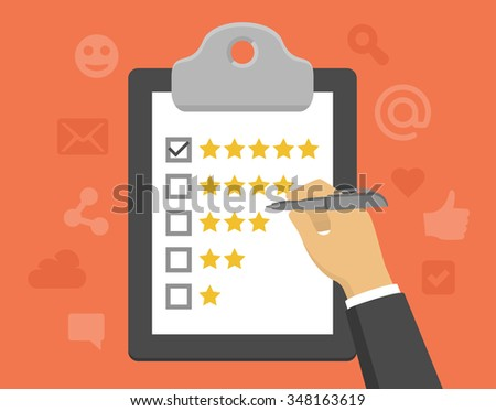 Vector customer feedback concept in flat style - clipboard and hand checking five stars mark on it - stock vector