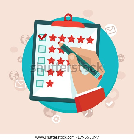 Vector customer feedback concept in flat style - hand checking excellent mark in a survey - stock vector