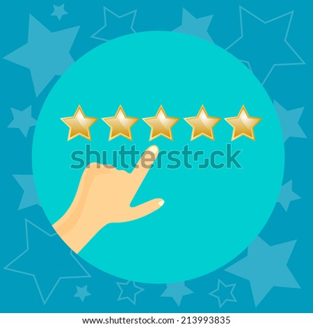 Vector customer feedback - hand checking excellent mark. Vector illustration. - stock vector