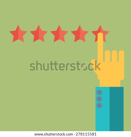 Vector customer review concepts in flat style - male hand choosing positive review. - stock vector