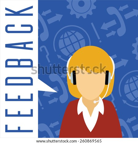 Vector customer service concept. Feedback concept. Female avatar with a headset on symbol background. - stock vector