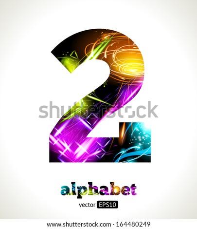 Vector Customizable Light Effect Alphabet. Design Abstract figure 2. - stock vector