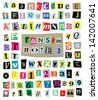 Vector cut newspaper and magazine letters, numbers, and symbols. Mixed u/c and l/c and multiple options for each one. Perfect design elements for a ransom note, creative typography, and more. - stock vector