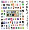 Vector cut newspaper and magazine letters, numbers, & symbols. Mixed u/c & l/c and multiple options for each one. Perfect design elements for a ransom note, creative typography, & more. EPS 10. - stock vector
