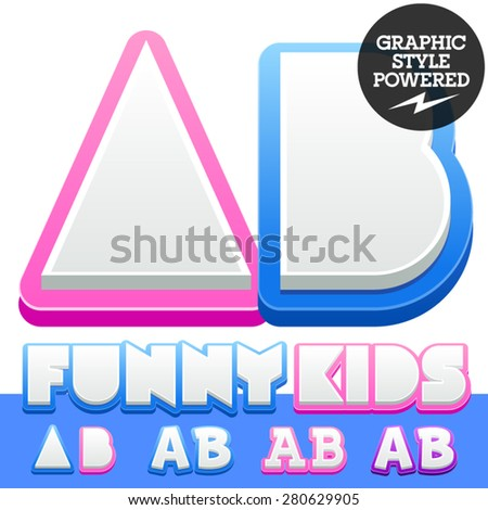 Vector cute alphabet for children. Nice white with blue  or pink letters and numbers for boys and girls. Letters A B - stock vector