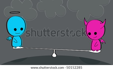 Vector cute angel and devil at the playground - stock vector