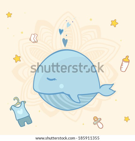 Vector cute baby shower with blue whale for boys
