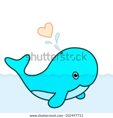 Vector cute baby whale cartoon character swimming in the big ocean with tail lifted up above the water and blowing a big heart water splash
