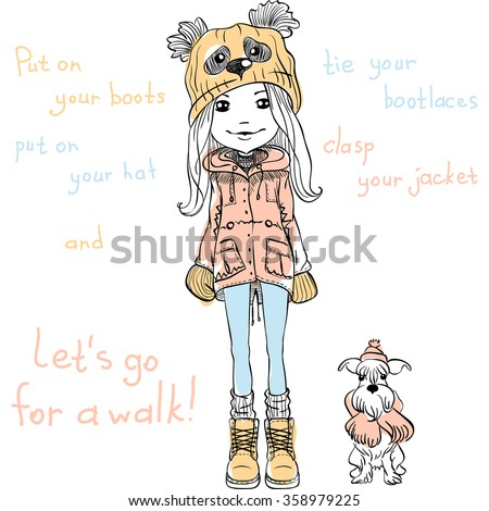Vector Cute beautiful fashionable girl in a funny hat with a muzzle panda with dog - stock vector