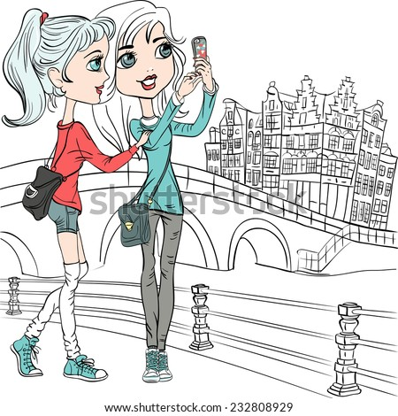 Vector cute beautiful hipster girls make selfie on a bridge in Amsterdam - stock vector