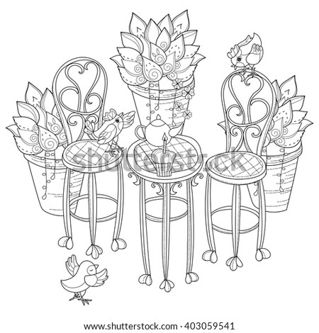 Vector cute birthday  tea time.Vector line illustration.Sketch for coloring adult book.Boho style hand drawn doodle.Terassa, chairs, table, teapot, pie, plants in pots, birds, tea time. - stock vector