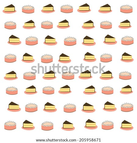 vector cute cake for background - stock vector