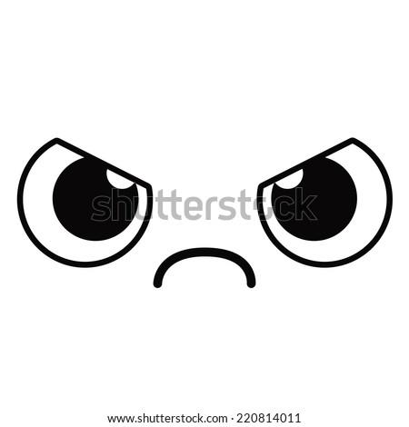 Vector Cute Cartoon Angry Face Editable - stock vector