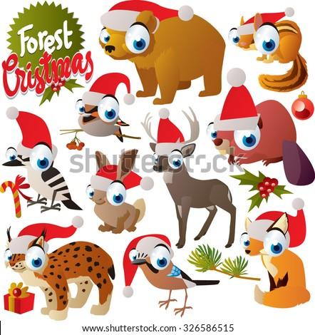 Vector cute cartoon christmas animals set: santa bear, santa woodpecker, santa chipmunk, santa waxwing, santa deer, santa beaver, santa hare, santa lynx, santa fox, santa jay - stock vector