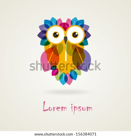 Vector Cute Cartoon Colorful Owl. Business abstract icon. As sign, symbol,web, label, emblem, icon.Vector illustration. Eps 10 - stock vector