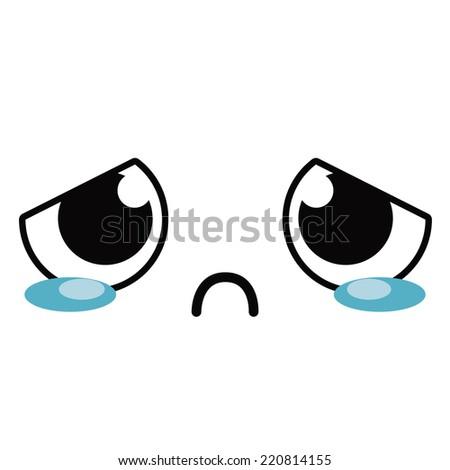 Vector Cute Cartoon Crying Face Editable - stock vector