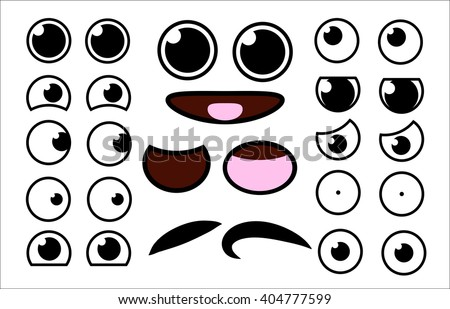 Vector cute cartoon eyes and mouths muzzle set. Collection of kids face elements for your design. Kawaii emotions with different expressions. - stock vector