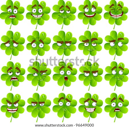 Vector cute cartoon four-leaf clover with many expressions - stock vector