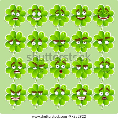 Vector cute cartoon four-leaf clover with many expressions stickers - stock vector