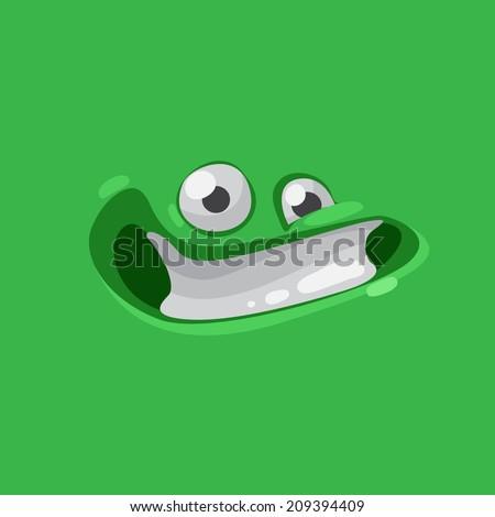 Vector cute cartoon green happy face - stock vector