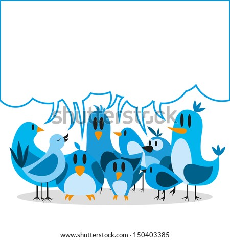 Vector Cute Cartoon Group Of Blue Birds And Board For Text - stock vector