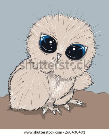 vector cute cartoon hand drawn little sad owl illustration with big eyes - stock vector