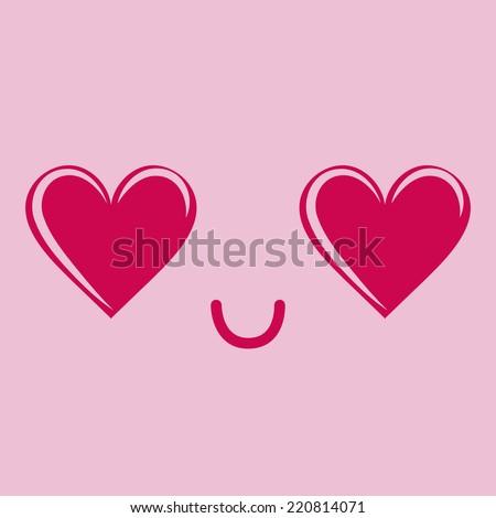 Vector Cute Cartoon In Love Face Editable - stock vector
