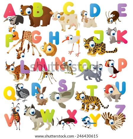 Vector cute cartoon isolated animal ABC for kids preschooler flash card game - stock vector
