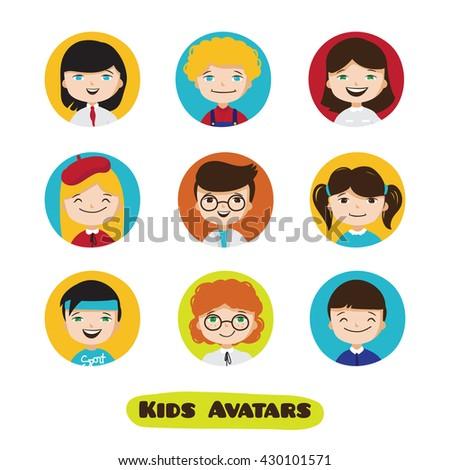 Vector cute cartoon kids avatars set. Children faces collection. - stock vector