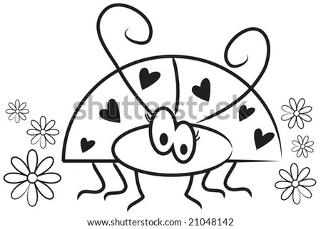 Vector Cute Cartoon Ladybug With Hearts And Flowers Black White Line Art