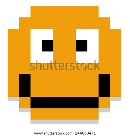 Vector Cute Cartoon Pixel Happy Face Isolated - stock vector