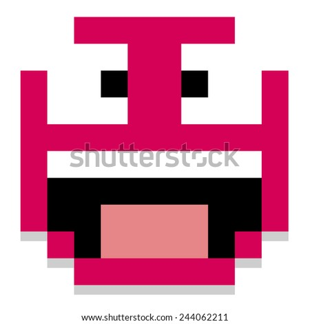 Vector Cute Cartoon Pixel Screaming Face Isolated - stock vector