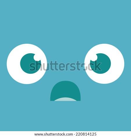 Vector Cute Cartoon Scared Face Editable - stock vector